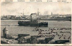 Cuba P & O Steamship Company's Steamship Mascotte Leaving Havana 1905