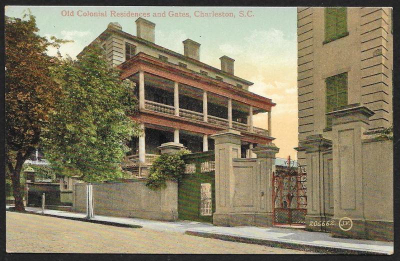 Old Colonial Residences & Gates Charleston S Carolina Unused c1910s