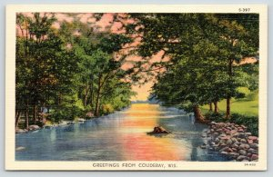 Couderay Wisconsin~Sunset on the River~Rocky Bank~1935 Linen Postcard
