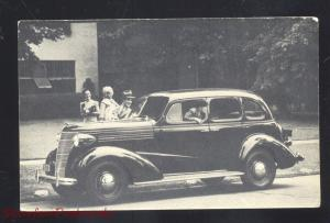 1938 CHEVROLET 4 DOOR SEDAN CHICAGO HEIGHTS ILLINOIS ADVERTISING POSTCARD CARS