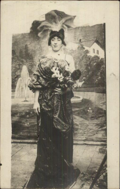 Gay Interest - Cross Dressing Man in Elaborate Dress & Hat c1910 RPPC