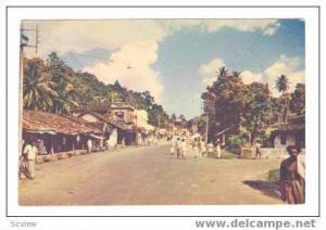 A Hillside Town, Street View, Ceylon, PU 1955