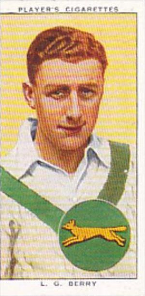 Player Cigarette Card Cricketers 1938 No 3 L G Berry Leicestershire