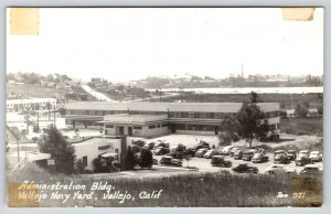 Vallejo California~Navy Yard Administration Building~Parking Lot Cars~1940s RPPC
