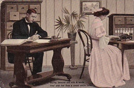 Romantic Couple In Office Emaille Series 3019