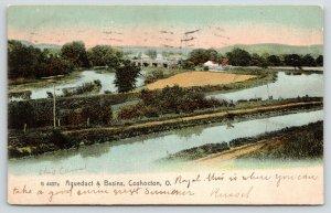 Coshocton Ohio~Aqueduct & Basins Birdseye View~Train Tracks~1907 Rotograph