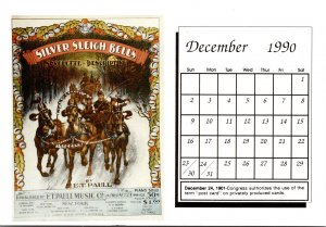 1990 Sheet Music Calendar Series December Silver Sleigh Bells