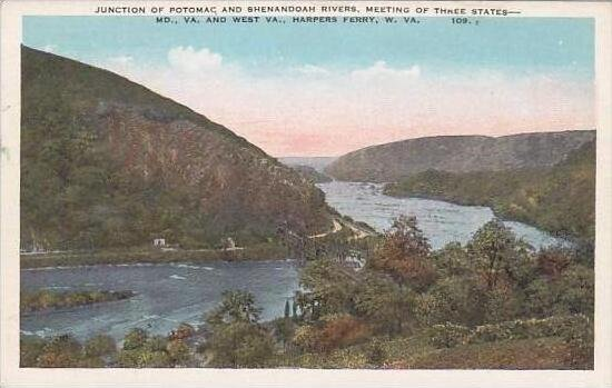 West Virginia Harpers Ferry Junction Of potomac And Shenendoah Rivers Meeting...