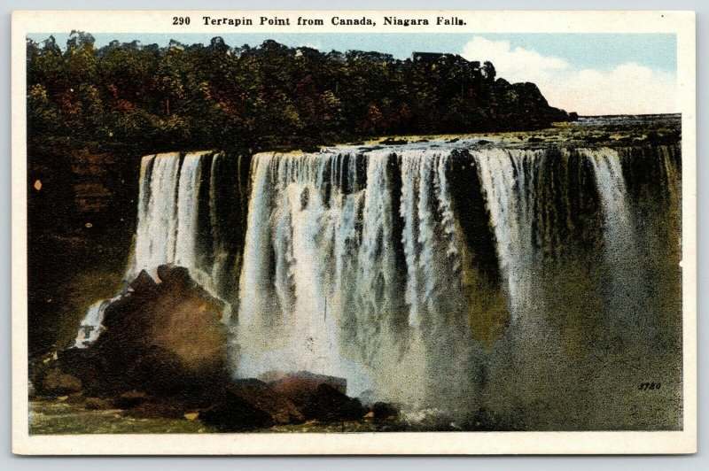 Niagara Falls New York~Terrapin Point @ Canada~1920s Scenic Postcard