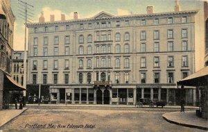 Portland, Maine NEW FALMOUTH HOTEL Street Scene c1910s Vintage Postcard