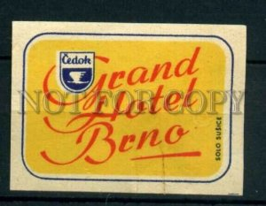 500816 Czechoslovakia Grand Hotel Brno ADVERTISING match label