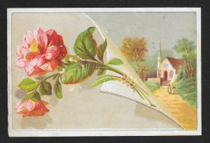 VICTORIAN TRADE CARD Raymond & Co Clothier Flowers & Church