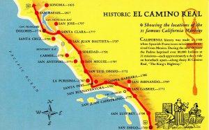 CA - California Missions. El Camino Real, Map