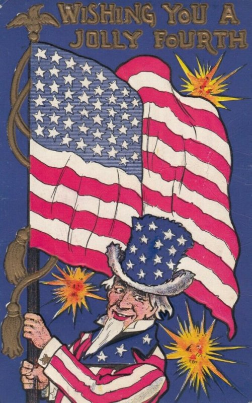 FOURTH of JULY , 1908 ; Uncle Sam & Flag