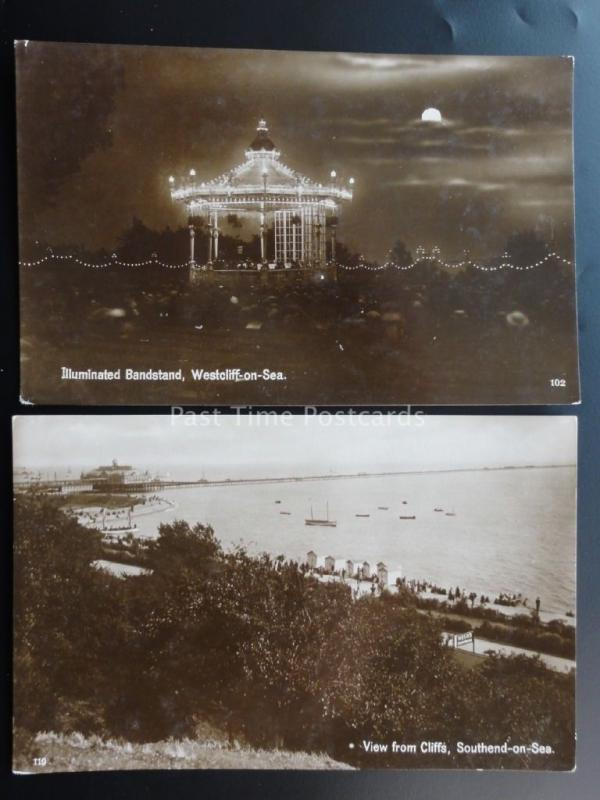 Essex: 2 Old RP Postcard Westcliff & Southend on Sea shows Illuminated Bandstand