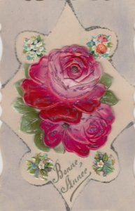 Celluloid Red Flowers Novelty Postcard , 00-10s