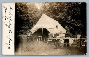 STERLING PA CAMPING SCENE COOKING RIFLE TENT ANTIQUE REAL PHOTO POSTCARD RPPC