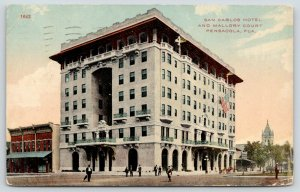 Pensacola Florida~San Carlos Hotel & Mallory Court~People in Street~1912