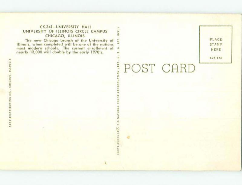 Unused Pre-1980 HALL AT UNIVERSITY OF ILLINOIS Chicago Illinois IL L6863-22