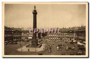 Postcard Old Paris while strolling Place and Vendome Column