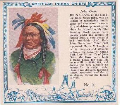 Red Man Chewing Tobacco American Indian Chiefs No 21 John Grass Rock Sioux Tribe