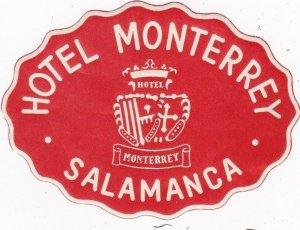 Spain Salamanca Hotel Monterrey Red Vintage Luggage Label sk4502