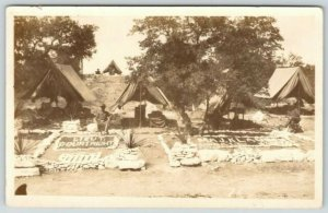 WWI Border War Era~Lieutenant Courtright~Maj Klausen Tents~3rd Batt~c1915 RPPC