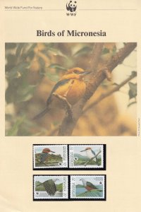 Birds Of Micronesia WWF Stamps and Set Of 4 First Day Cover Bundle