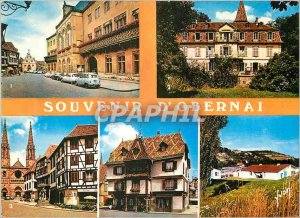 Modern Postcard Obernai (Bas Rhin) The hotel Alsce city and its ornate balcony
