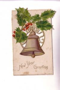 Vintage Victorian Single Layer Cut Out Paper New Year Greeting Card,