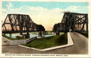 Tennessee Memphis The Memphis and Harrihan Bridges Spanning Mississippi River...