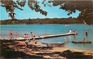 Arcadia Michigan~Inn at Watervale~Sandy Beach~Boat Dock~Motor Boat~1950s
