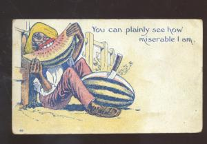 BLACK AMERICANA BLACK MAN EATING WATERMELON VINTAGE COMIC POSTCARD 1908