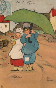 TUCK #572, 1907; Dutch Children with doll walking in rain; AS; May Gladwin