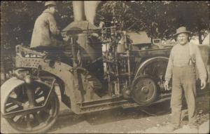 Early Street Steam Roller Men & Machinery Labor Workers CRISP c1910 RPPC dcn