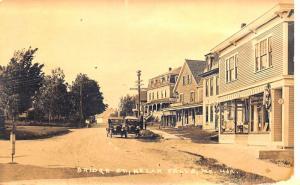 Kezar Falls ME Bridge Street Storefronts Old Cars Real Photo Postcard