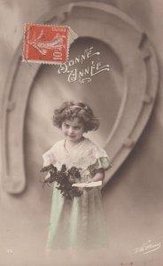 RP: Bonne Annee , Girl with Flowers, 00-10s ; Horseshoe