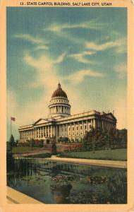 Salt Lake City, UT, State Capitol Building, 1951 Linen Vintage Postcard c4193