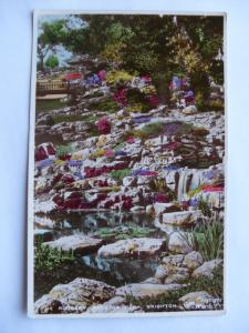 Old rppc THE ROCKERY AT PRESTON PARK Brighton United Kingdom UK Postcard y6566