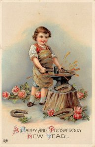 LP27  Postcard New Year's Blacksmith roses EAS Publisher Gel Finish