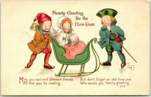 Vintage 1914 HAPPY NEW YEAR Postcard Hearty Greeting Artist-Signed EHD