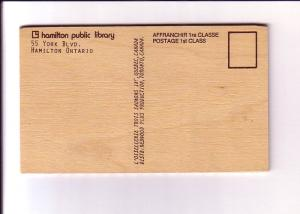 Public Library, Hamilton, Ontario, Vintage Wooden Postcard Redwood Plus Product