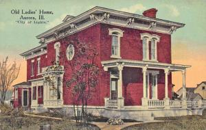 Aurora IL Old Ladies Home City of Lights Postcard