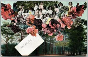 MULTIPLE BABIES in FLOWERS ANTIQUE POSTCARD COLLAGE MONTAGE