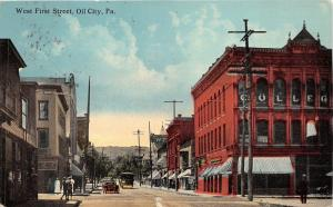 Oil City Pennsylvania~West First Street~College~Vintage Car~Horse & Buggy~1913