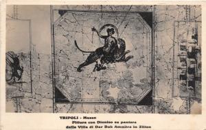 B71222 Tripoli museo Dioniso su pantera dalla villa di Dar Buc Ammer Libya