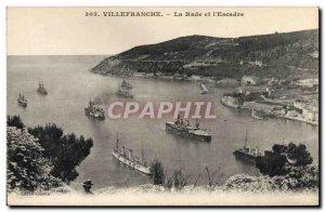 Old Postcard Villefranche La Rade and L & # 39Escadre Charter