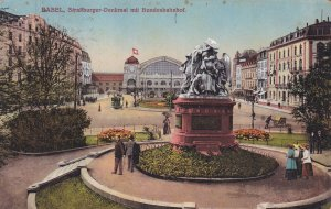 BASEL, Switzerland, PU-1919; Strahburger-Denkmal Mit Bundesbahnhof