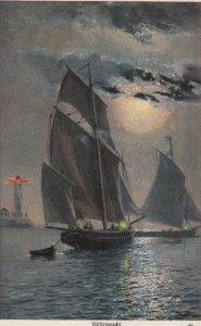Sailing Vessel, RUFTENWACHT under a full moon, Lighthouse, 1900-10s