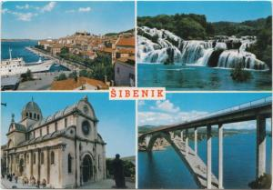 SIBENIK, Croatia, multi view, used Postcard